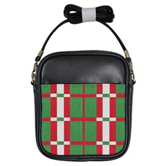 Fabric Green Grey Red Pattern Girls Sling Bags