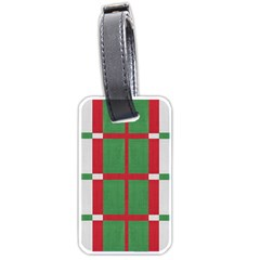 Fabric Green Grey Red Pattern Luggage Tags (One Side)