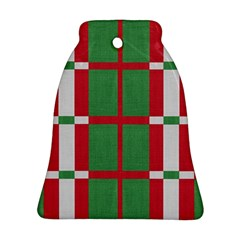 Fabric Green Grey Red Pattern Ornament (Bell)
