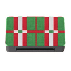 Fabric Green Grey Red Pattern Memory Card Reader with CF