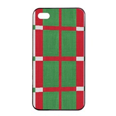 Fabric Green Grey Red Pattern Apple iPhone 4/4s Seamless Case (Black)