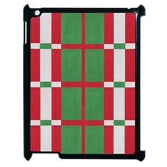 Fabric Green Grey Red Pattern Apple iPad 2 Case (Black)