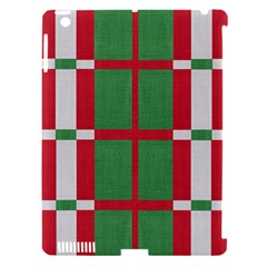 Fabric Green Grey Red Pattern Apple iPad 3/4 Hardshell Case (Compatible with Smart Cover)