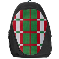 Fabric Green Grey Red Pattern Backpack Bag