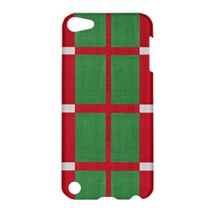 Fabric Green Grey Red Pattern Apple Ipod Touch 5 Hardshell Case