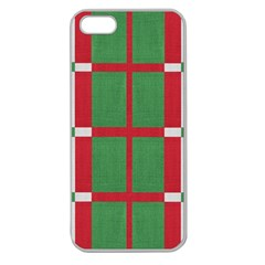 Fabric Green Grey Red Pattern Apple Seamless Iphone 5 Case (clear)