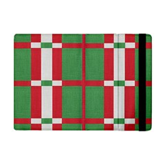 Fabric Green Grey Red Pattern Apple iPad Mini Flip Case