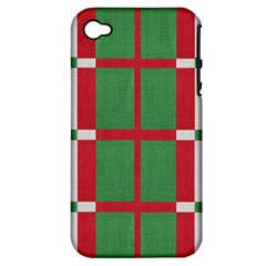 Fabric Green Grey Red Pattern Apple Iphone 4/4s Hardshell Case (pc+silicone)