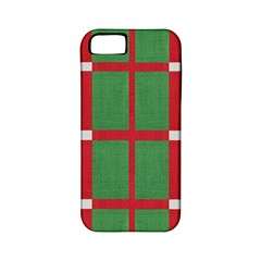 Fabric Green Grey Red Pattern Apple iPhone 5 Classic Hardshell Case (PC+Silicone)