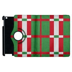 Fabric Green Grey Red Pattern Apple iPad 3/4 Flip 360 Case