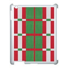Fabric Green Grey Red Pattern Apple iPad 3/4 Case (White)