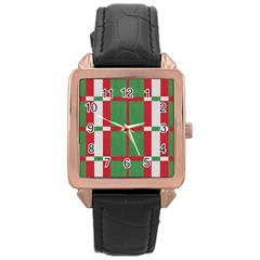 Fabric Green Grey Red Pattern Rose Gold Leather Watch