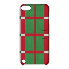Fabric Green Grey Red Pattern Apple iPod Touch 5 Hardshell Case with Stand