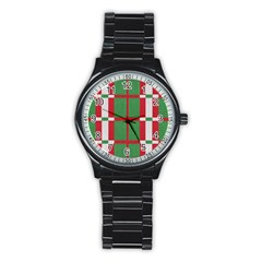 Fabric Green Grey Red Pattern Stainless Steel Round Watch