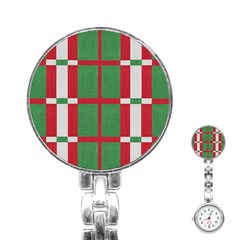 Fabric Green Grey Red Pattern Stainless Steel Nurses Watch