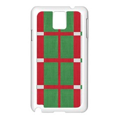 Fabric Green Grey Red Pattern Samsung Galaxy Note 3 N9005 Case (White)