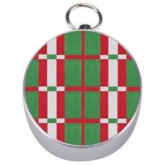 Fabric Green Grey Red Pattern Silver Compasses