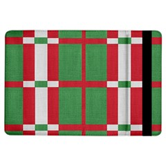 Fabric Green Grey Red Pattern Ipad Air Flip