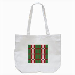 Fabric Green Grey Red Pattern Tote Bag (white)