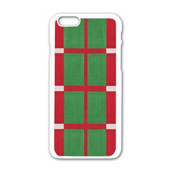 Fabric Green Grey Red Pattern Apple Iphone 6/6s White Enamel Case