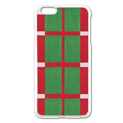 Fabric Green Grey Red Pattern Apple Iphone 6 Plus/6s Plus Enamel White Case