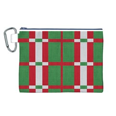 Fabric Green Grey Red Pattern Canvas Cosmetic Bag (L)