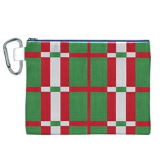 Fabric Green Grey Red Pattern Canvas Cosmetic Bag (XL)