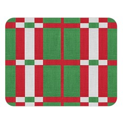 Fabric Green Grey Red Pattern Double Sided Flano Blanket (large)