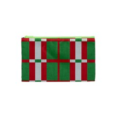 Fabric Green Grey Red Pattern Cosmetic Bag (xs)