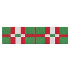 Fabric Green Grey Red Pattern Satin Scarf (oblong)