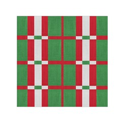 Fabric Green Grey Red Pattern Small Satin Scarf (square)