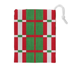 Fabric Green Grey Red Pattern Drawstring Pouches (Extra Large)