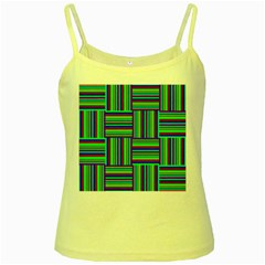 Fabric Pattern Design Cloth Stripe Yellow Spaghetti Tank