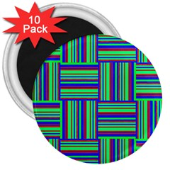 Fabric Pattern Design Cloth Stripe 3  Magnets (10 Pack)