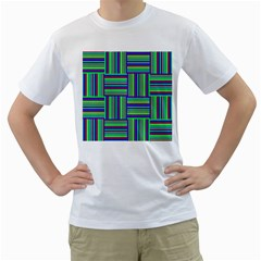 Fabric Pattern Design Cloth Stripe Men s T-Shirt (White) (Two Sided)