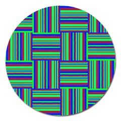 Fabric Pattern Design Cloth Stripe Magnet 5  (Round)
