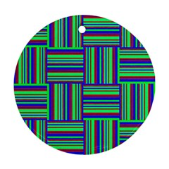 Fabric Pattern Design Cloth Stripe Round Ornament (Two Sides)