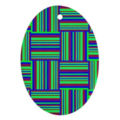 Fabric Pattern Design Cloth Stripe Oval Ornament (two Sides)