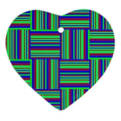 Fabric Pattern Design Cloth Stripe Heart Ornament (Two Sides)
