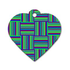 Fabric Pattern Design Cloth Stripe Dog Tag Heart (One Side)