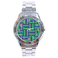 Fabric Pattern Design Cloth Stripe Stainless Steel Analogue Watch