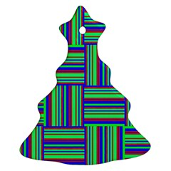 Fabric Pattern Design Cloth Stripe Christmas Tree Ornament (two Sides)