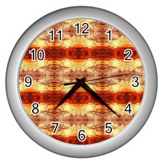 Fabric Design Pattern Color Wall Clocks (silver)