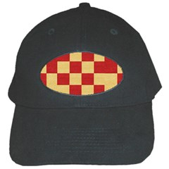Fabric Geometric Red Gold Block Black Cap