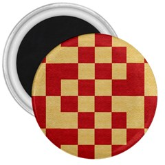 Fabric Geometric Red Gold Block 3  Magnets