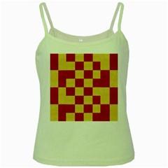 Fabric Geometric Red Gold Block Green Spaghetti Tank