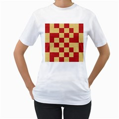 Fabric Geometric Red Gold Block Women s T-Shirt (White) (Two Sided)