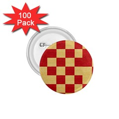 Fabric Geometric Red Gold Block 1.75  Buttons (100 pack)