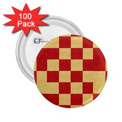 Fabric Geometric Red Gold Block 2.25  Buttons (100 pack)
