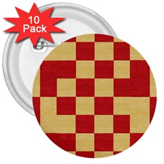 Fabric Geometric Red Gold Block 3  Buttons (10 pack)